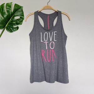 Love to run gray and pink athletic tank top